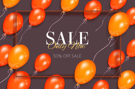 Ilustración de Rectangular sale banner, flyer design with orange balloons and frame for text, vector illustration on white background. Sale banner, flyer, poster template with shiny balloons and rectangular frame - Imagen libre de derechos