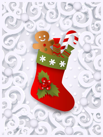 Ilustración de Christmas greeting card template with Xmas stocking, gingerman and candy cane, flat, paper cut vector illustration on white ornamented background. Xmas greeting card template with Christmas stocking - Imagen libre de derechos