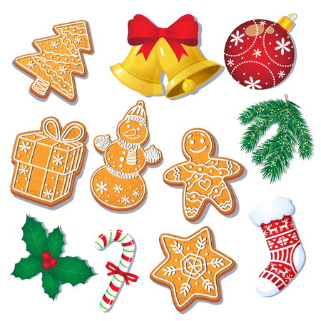 Ilustración de Set of glazed Christmas gingerbread cookies and decorations, fir tree, mistletoe, cartoon vector illustration isolated on white background. Set of Christmas gingerbread cookies and decorations - Imagen libre de derechos