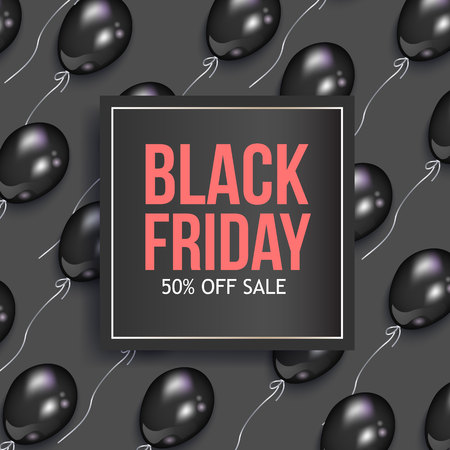 Illustration pour Black Friday sale banner design with shiny balloons and square frame, vector illustration. Black Friday sale banner, flyer, poster template design with square element for text and shiny balloons - image libre de droit