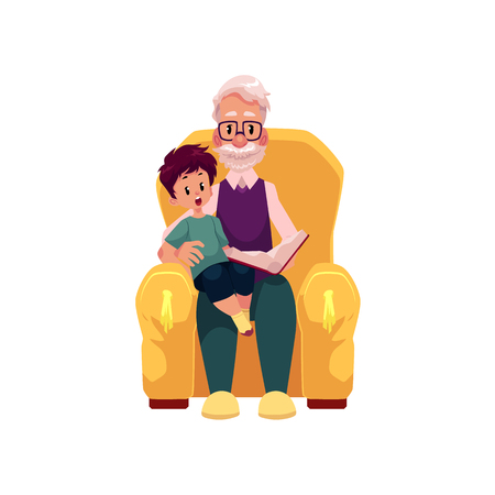 Illustration pour vector flat cartoon grandfather and grandson sitting at armchair reading book together. Isolated illustration on a white background. Grandparents and children relationship concept - image libre de droit