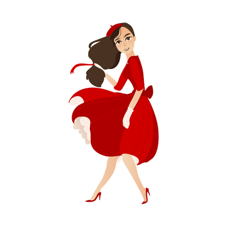 Ilustración de vector flat cartoon beautiful young woman in red felt beret, long dress smiling. French, parisian style female portrait full length. Isolated illustration ona white background. - Imagen libre de derechos
