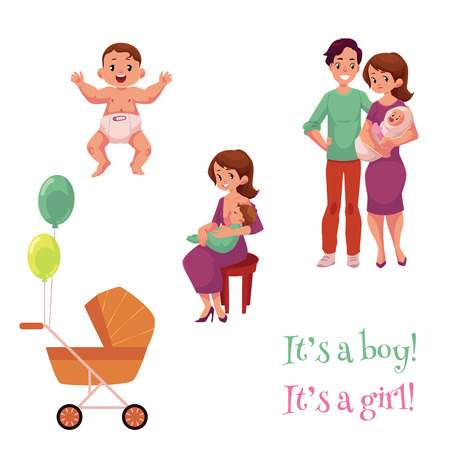 Ilustración de Newborn baby set, happy parents and carriage, cartoon vector illustration isolated on white background. Newborn boy, girl, mother breast feeding her child, happy young parents, birth celebration - Imagen libre de derechos