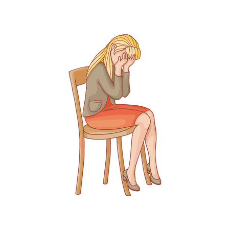 Illustration pour vector flat woman in red skirt, heeled crying sitting at chair. Unhappy female character suffering from frustration, grief. Isolated illustration on a white background. Mental illness concept - image libre de droit