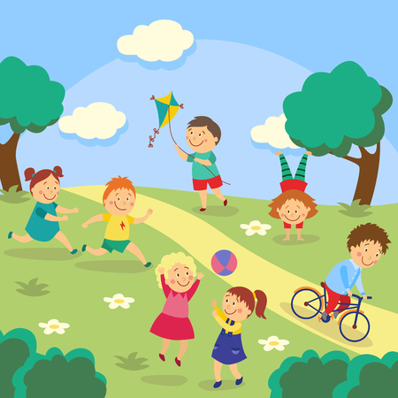 Illustration for Kids, children playing tag and ball, flying kite, cycling and doing handstand in park, garden, yard, flat cartoon vector illustration. Kids playing in yard, garden, park, outdoor activities - Royalty Free Image