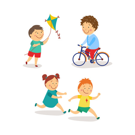 Illustration for vector flat kids activity in kindergarten set. girl and boy having fun playing catch-up and tag running game, boys launching kite, riding bicycle smiling. Isolated illustration on a white background. - Royalty Free Image
