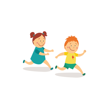 Illustration pour vector flat cartoon girl and boy kids having fun playing catch-up and tag running game smiling. Children activity in a yard concept. Isolated illustration on a white background. - image libre de droit