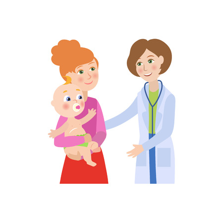 Illustration for vector flat cartoon female doctor with stethoscope giving newborn infant kid to his mother. Woman pediatrician in medical clothing and baby. Isolated illustration on a white background. - Royalty Free Image