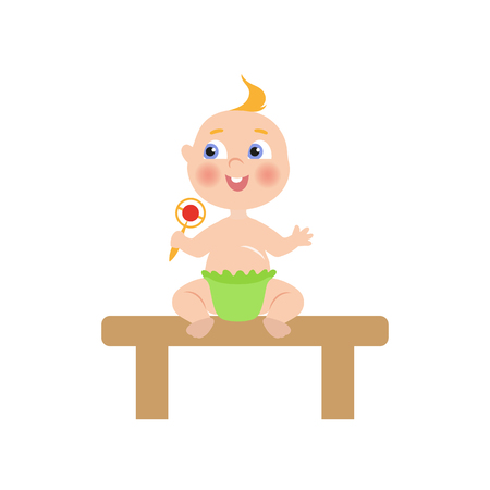 Illustration pour vector flat cartoon new born infant baby sitting at wooden table in green diaper holding rattle smiling. Isolated illustration on a white background - image libre de droit