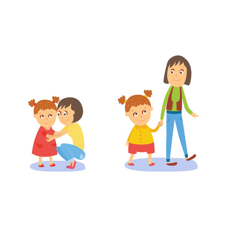 Illustration pour Mother and daughter, little girl walking and hugging with her mom, flat comic style cartoon vector illustration isolated on white background. Cartoon girl with her mom, mother and daughter - image libre de droit