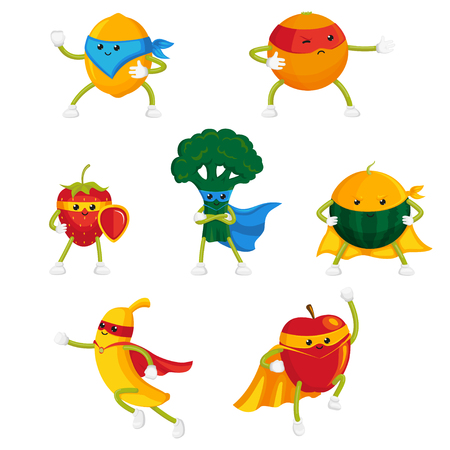 Illustration pour Funny fruit and berry hero, superhero characters in capes and masks, set of flat style cartoon vector illustrations isolated on white background. Funny fruit and berry hero, superhero characters - image libre de droit