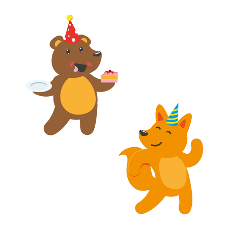 Illustration pour vector flat cartoon cheerful animals character happily smiling in paty hat set. brown bear eating piece of cake, red fox dancing . isolated illustration on a white background. - image libre de droit