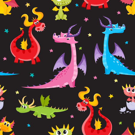 Illustration pour Seamless pattern, backdrop design with funny cartoon dragon characters, vector illustration on black background. Funny comic, cartoon style dragon characters, seamless pattern on black background - image libre de droit