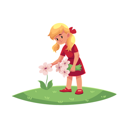 Illustration pour vector flat cartoon teen children - girl collecting field flowers - chamomile, cornflowers at summer. Kids at farm concept. Isolated illustration on a white background. - image libre de droit