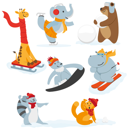Illustration for Cute animal characters doing winter activities, having fun, flat cartoon vector illustration isolated on white background. Set of animal characters having fun in winter, playing outside - Royalty Free Image