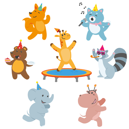 Illustration for Cute animal characters having fun at birthday party, celebrating, flat cartoon vector illustration isolated on white background. Set of animal characters having fun, celebrating birthday, playing - Royalty Free Image