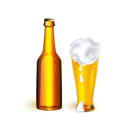 Ilustración de vector realistic full mug and bottle of golden lager cool beer with thick white foam mockup closeup. Ready for your design product packaging. Isolated illustration on a white background. - Imagen libre de derechos