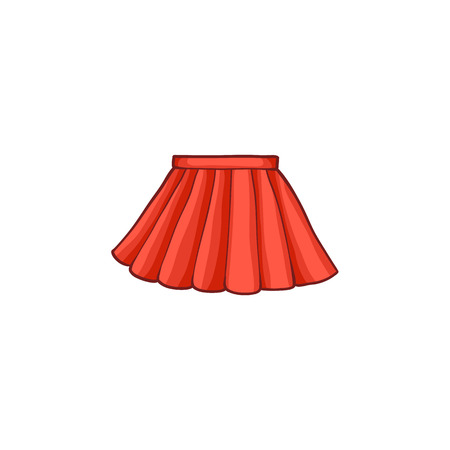 Illustration for vector flat cartoon summer female red skirt. Fashionable trendy style summer, female casual clothing. Isolated illustration on a white background. - Royalty Free Image