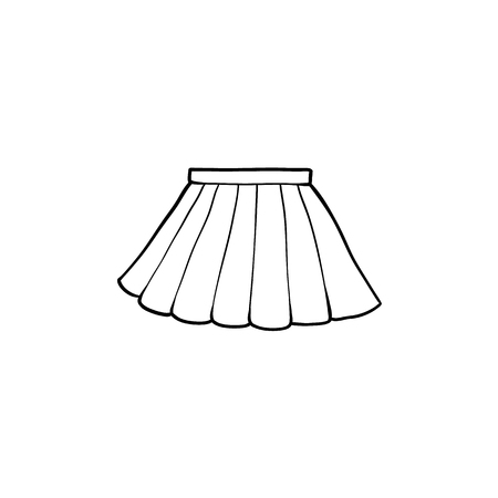Ilustración de Black and white drawing of pleated mini skirt, flat cartoon vector illustration isolated on white background. hand drawn pleated mini skirt, school uniform, black and white picture - Imagen libre de derechos