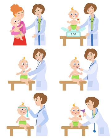 Ilustración de Female pediatrician, doctor doing medical exam, checkup for baby, infant, cartoon vector illustration isolated on white background. Baby, infant undergoing medical exam checkup by pediatrician - Imagen libre de derechos