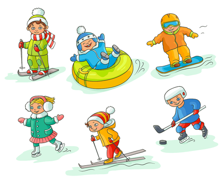 Illustration pour Kids having fun in winter - skiing, snowboarding, ice skating, playing hockey, sleighing, flat cartoon vector illustration isolated on white background. Hand drawn kids children - winter activities - image libre de droit