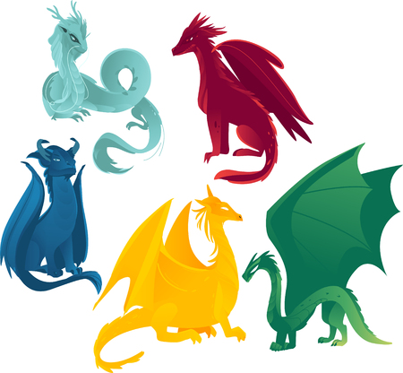 Ilustración de vector flat cartoon colored blue, red yellow and green majestic mythical dragons set. Isolated illustration on a white background. - Imagen libre de derechos