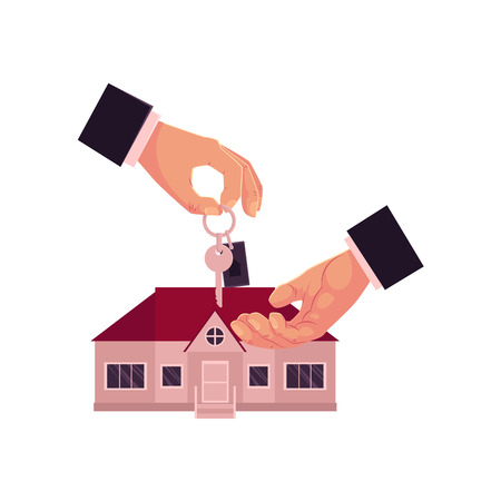 Illustration pour Male hands, one giving, another taking a house key, home, real estate property purchase, rent, sale concept, cartoon vector illustration on white background. Male hands giving and taking house key - image libre de droit