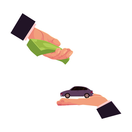 Illustration pour Two hands, giving money and holding a car, automobile selling, leasing, buying concept, cartoon vector illustration on white background. Car purchase, rental, insurance concept with giving hands - image libre de droit