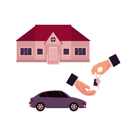 Illustration pour Male hands giving and taking a key, car and house, home, property purchase, rent, sale concept, cartoon vector illustration on white background. Male hands giving and taking key for house or car - image libre de droit