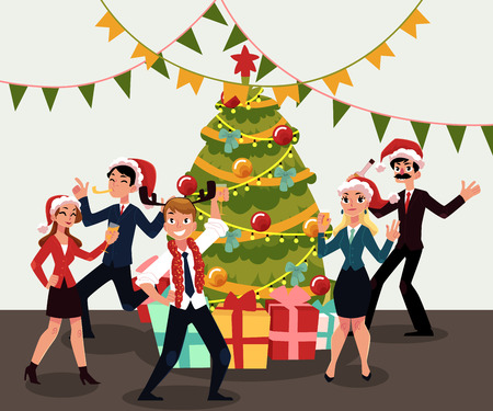 Illustration for People in Santa Claus hats having corporate Xmas party, celebrating Christmas in office, cartoon vector illustration. People in Santa Claus hats having fun at Christmas party, dancing around Xmas tree - Royalty Free Image