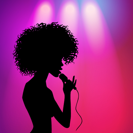 Illustration pour vector afro american beautiful girl silhouette portrait singing with microphone on purple background with spotlights. illustration on colored background. - image libre de droit