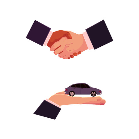 Illustration pour Handshake and hand holding car, automobile selling, leasing, purchase, rental concept, cartoon vector illustration on white background. Car purchase, rental concept with giving hand and handshake - image libre de droit