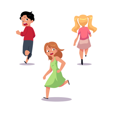 Illustration pour Frightened kids, boy and two girl running away in fear and panic, cartoon vector illustration isolated on white background. - image libre de droit