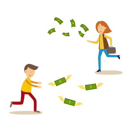 Illustration pour Upset man and woman running after money flying away vector illustration. - image libre de droit