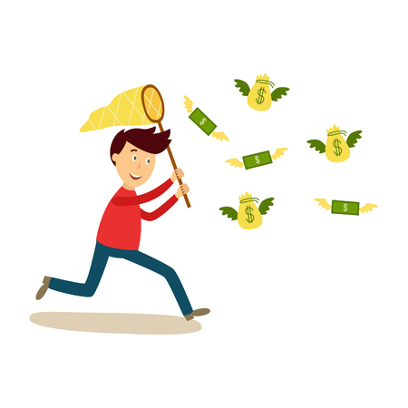 Ilustración de Happy man running after flying money vector illustration. - Imagen libre de derechos