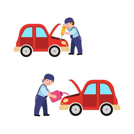 Illustration pour Auto mechanic fixing car engine vector illustration. - image libre de droit