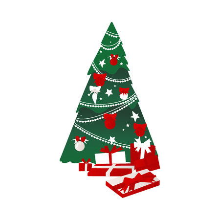 Illustration pour vector cartoon stylized christmas holiday new year festive Decorated spruce tree with balls, garlands and bows, big pile of present boxes icon. Isolated illustration on white background - image libre de droit