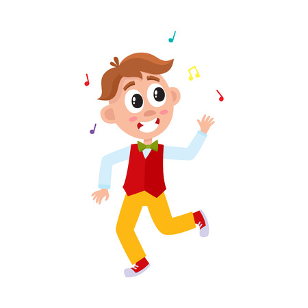 Illustration for vector flat cartoon boy child dancing alone in red waistcoat throwing music confetti smiling. Little dancer male character. Isolated illustration on a white background. Kids party concept - Royalty Free Image