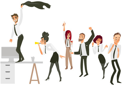 Foto de Happy people, men and women, having fun, dancing, drinking at corporate party, flat cartoon vector illustration isolated on white background. People having corporate party in office - Imagen libre de derechos