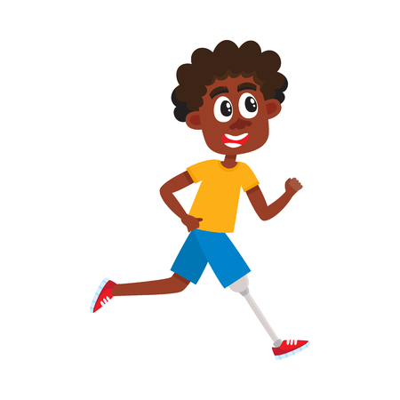 Ilustración de Young black, African American man with prosthesis, sportsman running on artificial leg, cartoon vector illustration isolated on white background. Funny cartoon black man, sportsman with prosthetic leg - Imagen libre de derechos