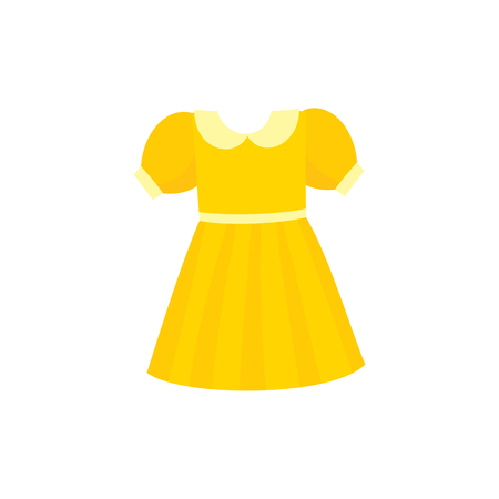 Illustration pour Yellow flare dress with round collar and balloon sleeves, cartoon vector illustration isolated on white background. Pretty girlish dress with round collar, flare dress, belt and balloon sleeves - image libre de droit