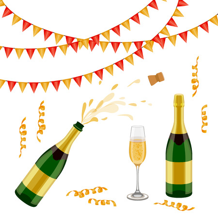Illustration for Set of champagne, sparkling wine bottle, open and closed, glass, flags and spiral confetti, realistic vector illustration isolated on white background. Champagne bottle, glass, party decorations - Royalty Free Image