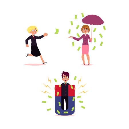 Man with money attracting magnet , woman under banknote rain with umbrella and running after flying dollar, cartoon vector illustration isolated on white background. Monwy flyinf, falling concept