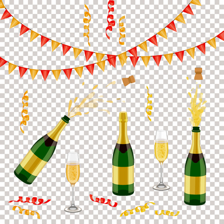 Illustration for Set of champagne, sparkling wine bottle, open and closed, glass, flags and spiral confetti, realistic vector illustration isolated. Champagne bottle, glass, party decorations - Royalty Free Image