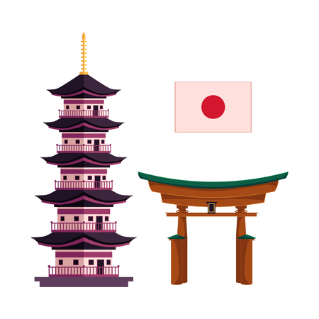 Illustration pour Set of Japanese symbols - national flag, multi-storied pagoda and torii gate, flat cartoon vector illustration isolated on white background. Set of flat Japan and icons - pagoda, flag and torii gate - image libre de droit
