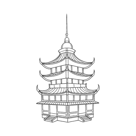 Ilustración de Traditional Japanese, Chinese, Asian pagoda building, flat style vector illustration isolated on white background. Traditional Japanese, Chinese, Asian pagoda building - Imagen libre de derechos