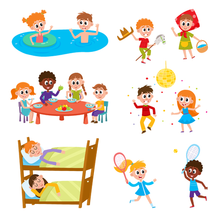 Illustration for Set of kids, boys and girls on vacation in summer camp - eating, sleeping, playing, swimming, dancing, sleeping, cartoon vector illustration on white background. Happy kids in summer camp set - Royalty Free Image