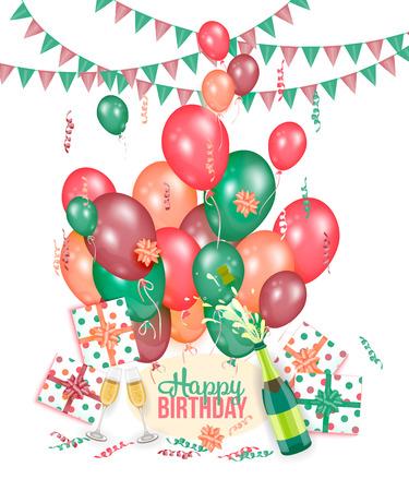 Ilustración de Happy Birthday greeting card with champagne, balloons, presents and flags, realistic vector illustration. Happy Birthday greeting set - lettering, champagne, glasses, balloons, flags and present boxes - Imagen libre de derechos