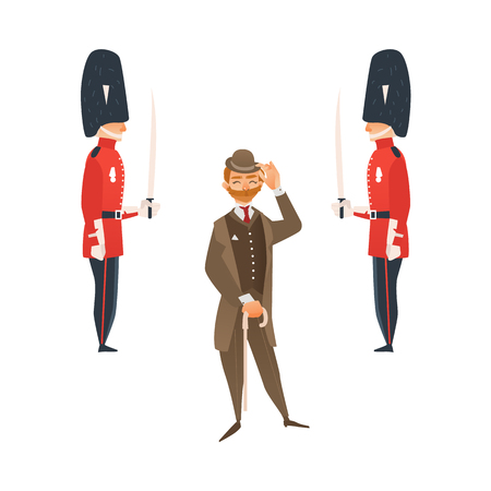 vector cartoon people in United kingdom national costumes set. English victorian gentleman in suit, hat holding cane umbrella and two queen guardians in traditional costumes. Isolated illustration