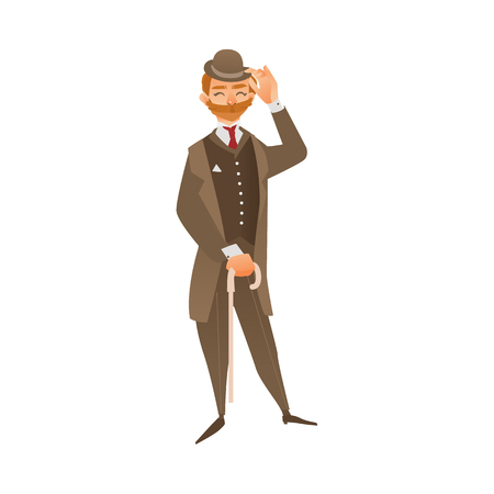 vector cartoon english, british victorian gentleman in formal traditional outdoor clothing, hat, mustache holding cane umbrella. Isolated illustration on a white background.